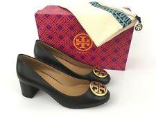 bf9d0570a Tory Burch Benton Gold Logo Black Leather Block Heel Pump 8 US