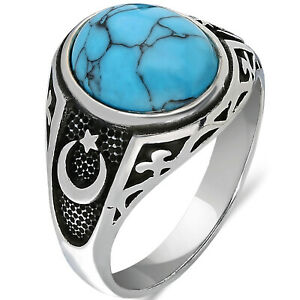 Solid 925 Sterling Silver Moon Star Turquoise Stone Men's Ring