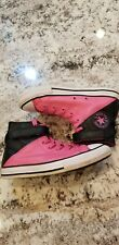 Converse All Star Girls Pink Black Size 2 Youth Leather High Top