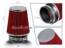 """3.5 Inches 3.5"""" 89 mm Cold Air Intake Narrow Cone Filter Quality RED BMW"""
