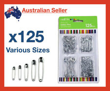 x 125 Safety Pins Sizes Large Small Medium Silver Pin Pack Set Baby Nappy Bulk