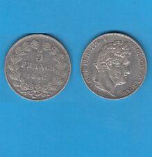 // 5 Francs argent Louis-Philippe Laurée Tranche en relief 1846 Strasbourg