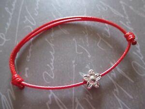 Unisex Waxd Cotton Cord Surf Boho Bracelet with Silver Daisy Charm ~ Adjustable