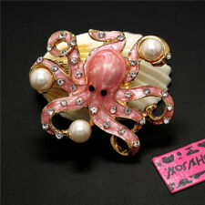 Lovely Octopus Rhinestone Woman Brooch Pin New Betsey Johnson Pearl Enamel Pink