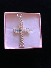 Sterling Silver Filigree Cross Pendant & Necklace Set