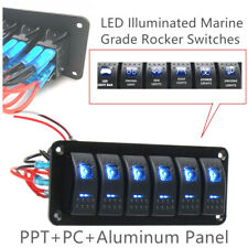 PPT Car Offroad 12V 6 Gang Blue LED Rocker Switch Control Panel Circuit Charger