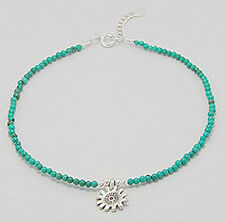 "Bracelet Anklet with Flower Charm 2.6g Solid Sterling Silver Turquoise 8.5""-9.5"""