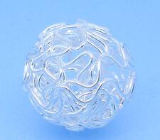20 Perles Ajourées Boule Argenté 18mm Dia