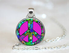 Vintage Peace Sign Flower Hippy Dome Tibetan silver Glass Chain Pendant Necklace
