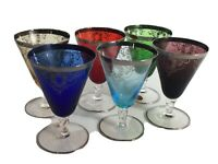 Vintage Italian Art Glass Goblets Colorful Silver Floral Glassware Dinnerware