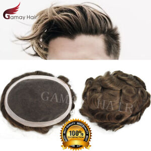 GM French Lace Breathable Wigs Human Hair Toupee Poly Skin Hairpiece System D7-5
