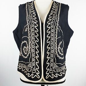 H. Apparel Co. Embroidered Boho Vest Black and Light Tan Women's Size Large