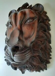 Lion Wooden Mask Wall Decoration Art Collectibles Wall mask Hand carved