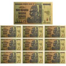 Lot 10 PCS, Zimbabwe 100 Trillion Dollars, Color 24K Gold, Banknote Collection