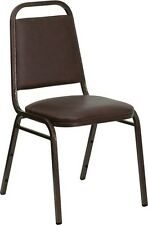 Trapezoidal Back Stacking Banquet Chair in Brown Vinyl with Copper Vein Frame