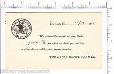 5385 Postcard 1914 Eagle Lead paint American bald Soo Hardware Sault St Marie Mi