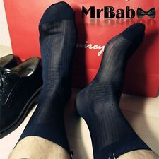 HOT 2Pairs Lot Men's Short Striped Sexy Smooth Nylon Sheer Dress Silk Socks 0038