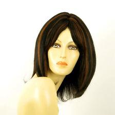 perruque femme 100% cheveux naturel mi-long méchée noir/cuivré BAHIA 1b30