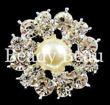 PK OF 5 LARGE CRYSTAL RHINESTONE DIAMANTE PEARL SHANK BUTTON DRESS CRAFT