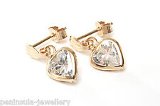 9ct Gold CZ Heart Drop earrings Gift Boxed Made in UK