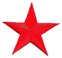 "Star - Red - GENEROUS 3"" Embroidered Iron On Patch"