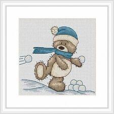 Bruno The Bear Snowballing Bruno Cross Stitch Kit Luca S