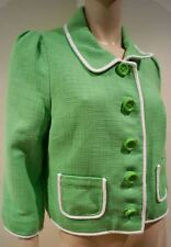 KATE SPADE Green & White 100% Cotton Textured Boxy Summer Blazer Jacket UK12