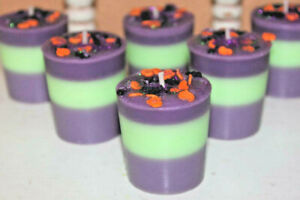 POISON PIE Scented Purple Lime Halloween Votive Candles- Blueberry Apple STRONG