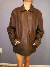 Rogue Leather Coat By Reilly Olmes Large Brown Full Zip Jacket