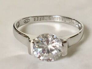 Sterling Silver Carat CZ Cubic Zirconia Engagement Wedding Solitaire Ring 6 7 .5