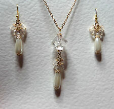 LONG IVORY WHITE PEARL & CLEAR ACRYLIC GOLD PLATED PENDANT EARRINGS SET PC