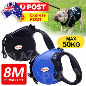 Long Dog Lead Leash Strong Retractable Extendable 8m Lockable Heavy Duty 50kg