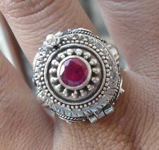925 Silver-L116-Balinese Carved Ring Locket/Poison Round Ruby Cut Size 7
