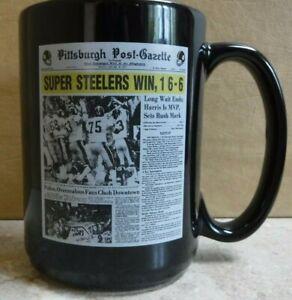 PITTSBURGH STEELERS  SUPER BOWL 9 CERAMIC COFFEE MUG RARE BLACK STEELERS MUG