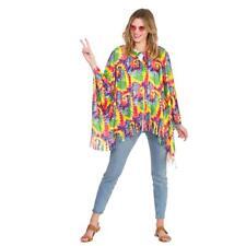 234 ✪ Hippie Flowerpower frange häkel Poncho 60er 70er anni Boho BORDEAUX
