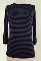 DAVID LAWRENCE Navy/Blue Stripe Stretch Knit Top Size S