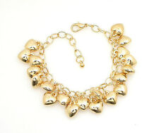 HORSE & WESTERN JEWELLERY JEWELRY LADIES  GOLD HEART CHARMS BRACELET