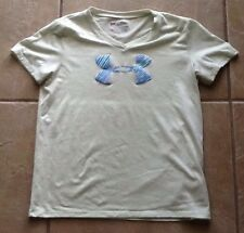 Youth Size L UNDER ARMOUR Heat Gear Pale Green Loose V-Neck T-Shirt