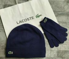 LACOSTE BOYS BEANIE HAT & GLOVES SET COTTON & CASHMERE AGE 4-6 YEARS BNWT