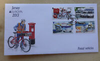 2013 JERSEY EUROPA POSTAL VEHICLES SET OF 4 STAMPS FDC FIRST DAY COVER