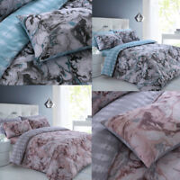 Marble Duvet Quilt Cover & Pillowcases Set Printed Reversible Bedding S,D,K Size