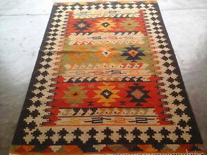 Genuine Handmade Afghan Nomadic Tribal Wool Large Kilim Rug 4x6 feet