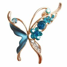 Crystal Rhinestone Brooch Pin B7153 18K Gp Beauteous Insect Butterfly Blue