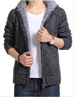 Mens Winter Sweater Hoodie Jacket Thick Plush Fleece Coat Hooded Parka Outwear