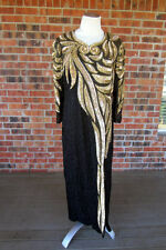 HAND BEADED SEQUIN LONG SLEEVE SHOULDER PAD BLACK AND GOLD DRESS SIZE 1X NWT