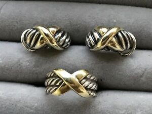 David Yurman X Cable  Earrings & Ring Sterling Silver & 14k Gold EC NR