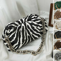 Zebra Embossed Ruched Chunky Big Metal Chain Pouch Clutch Shoulder bag Purse