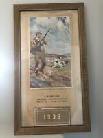 1939 Advertising Calendar featuring Hunting Dogs by Arthur D. Fuller