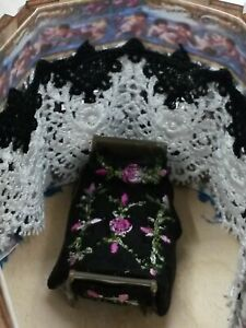 Dollhouse 1:48 scale Victorian Rosebud Embroideries for a Bedspread, Pillows,etc