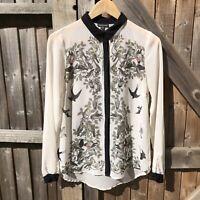 Warehouse Ivory Mix Bird Print Semi-Sheer Chiffon Blouse Size 10 VGC